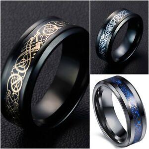 Men-Celtic-silver-wedding-BLUE-dragon-xmas-ring-band-tribal-new-gift-K-Z4-MN83