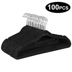 Flocked-Velvet-Non-Slip-Black-Suit-Clothes-Hanger-Hook-Swivel-360-100-Pack