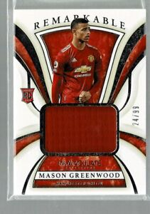 2020 Immaculate Mason Greenwood RC Remarkable Jersey Relic #24/99 (KD)