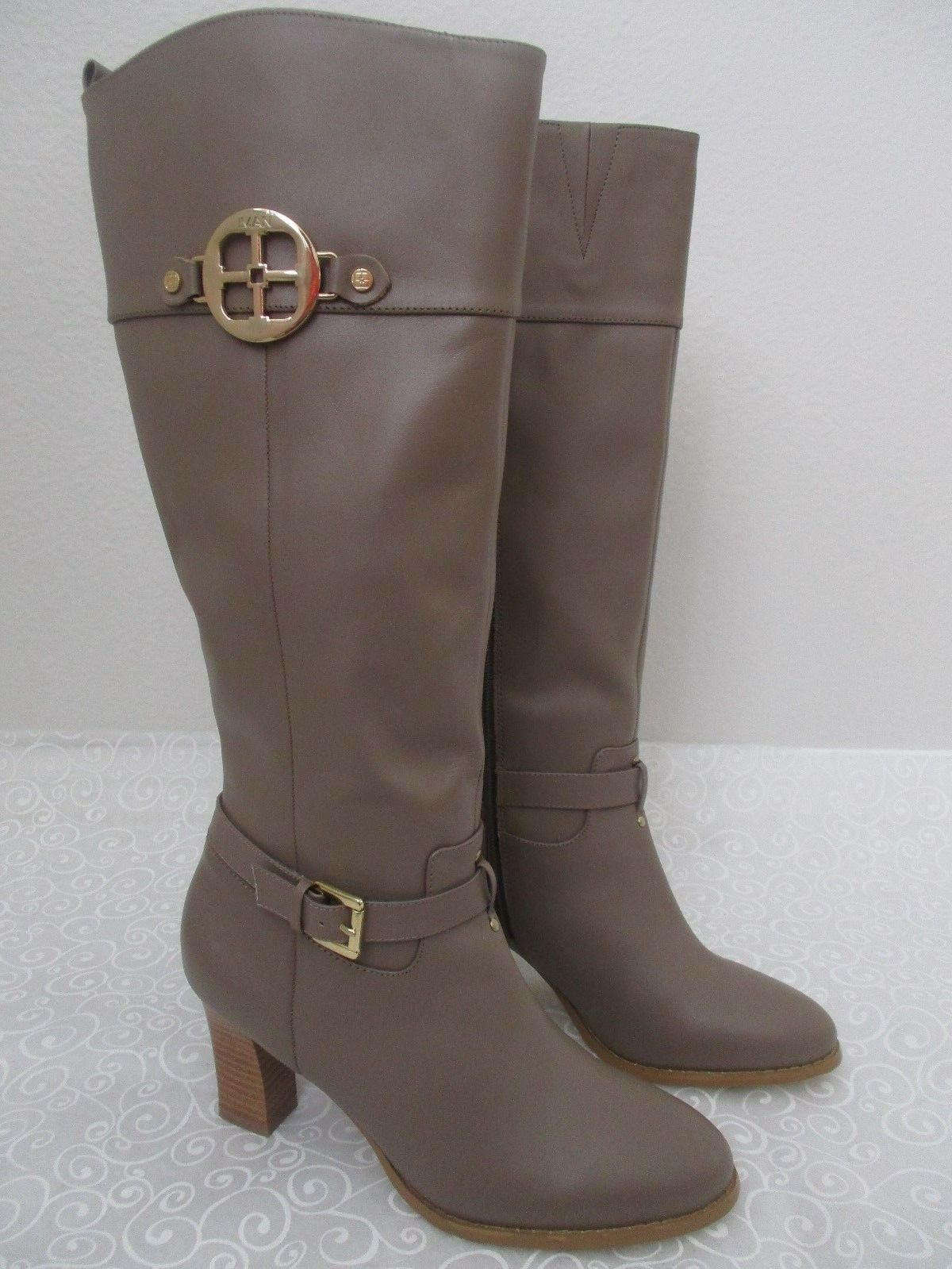 169  IMAN TAUPE LEATHER KNEE HIGH BOOTS SIZE 8 1 2 W - NEW