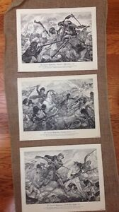 Vintage-Lot-of-3-USA-Printed-11-034-x14-034-Seaforth-Highlanders-Drawings-Art-Prints