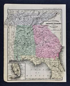 1882 mapa McNally Tennessee Georgia Alabama Florida Atlanta Miami ...