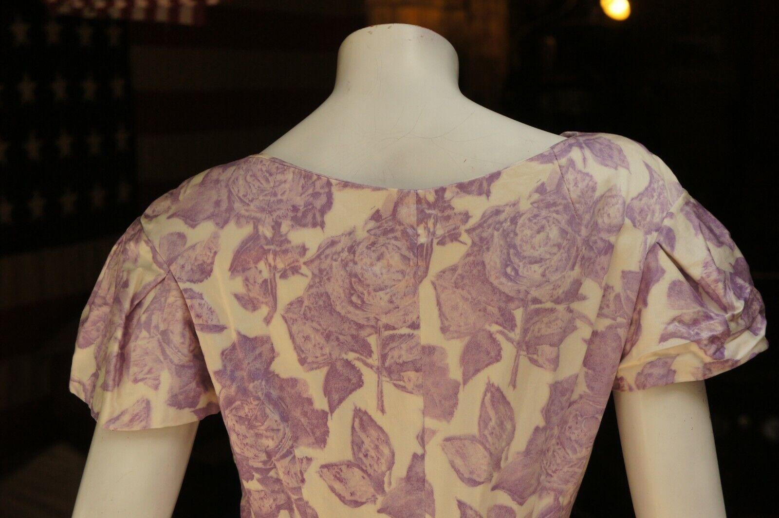 Vintage 50s Purple Floral Rose Print Dress Midi … - image 5