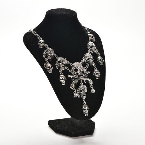Punk Style Retro Pirate Skull Cluster Rhinestone Chunky Chain Necklace W Bu