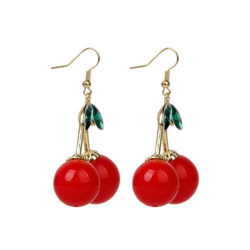 1 Paire Cherry Drop Dangle Strass Oreille Crochet Boucles D/'oreilles Fashion Femmes Bijoux Cadeau