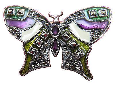 Judith Jack Sterling Silver Brooch Pin Butterfly Purple Enamel Marcasite 576g