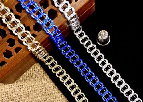 Asian//Indian Silver//Gold//Blue Metallic Chain Gimp Braid Trim MA607