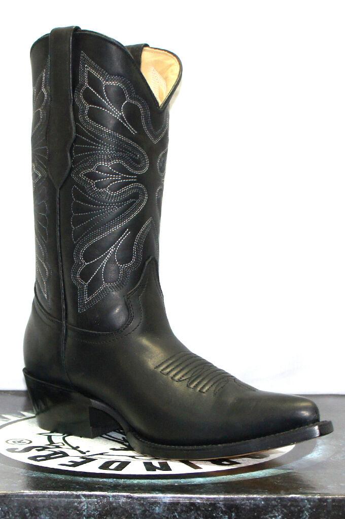 Grinders Femmes DALLAS noir Cuir Véritable Cowboy Western Mi-Mollet toe bottes