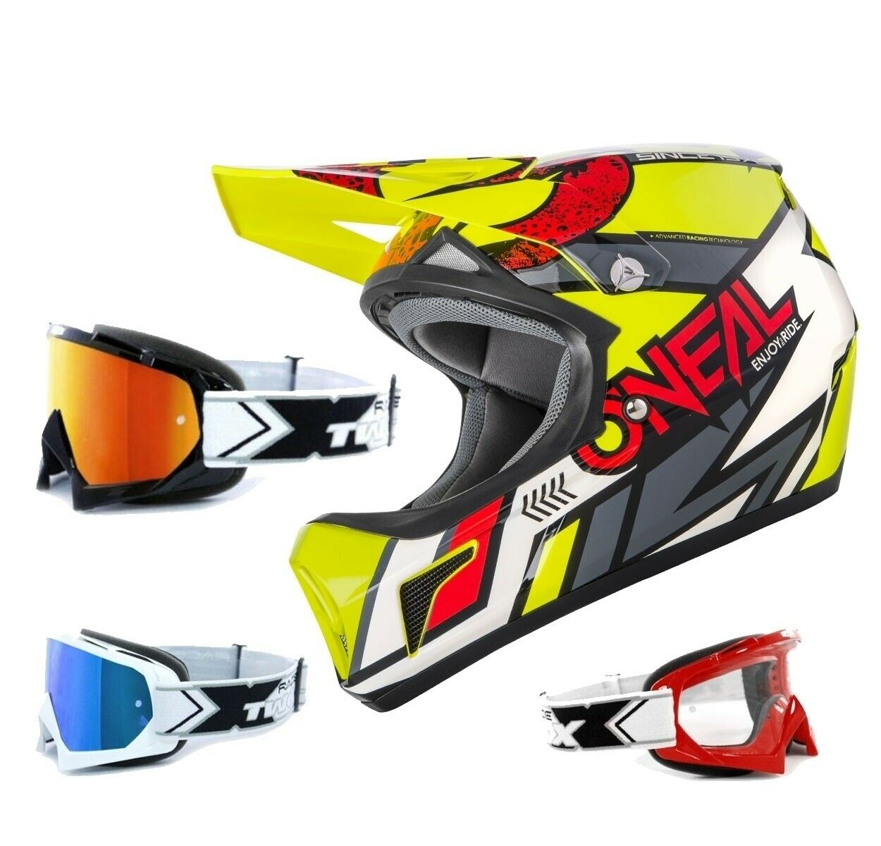 Oneal Sonus Strike Casco Downhill MTB negro amarillo Two-X Race Gafas