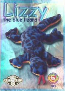 TY Beanie Babies BBOC Card - Series 2 Retired (GOLD) - LIZZY the Blue Lizard