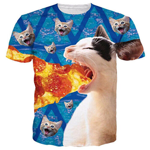 Oversized Women Men T Shirt 3D Print Cats Eat Pizza Short Sleeve Summer Tee Tops