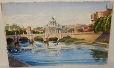 """MILLARD CARPENTER (ACUARELAS) """"THE TIBER ROME"""" ORIGINAL WATERCOLOR PAINTING"""