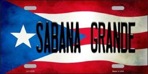 SABANA GRANDE PUERTO RICO STATE FLAG BACKGROUND NOVELTY METAL LICENSE PLATE TAG