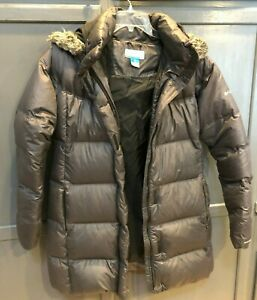 Columbia Full Zip Down Jacket Gray Long Sz XL Womens Removable Hood Omni Shield