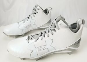 UNDER ARMOUR Fierce Football Cleats 16 White Silver Gray 1269739-103 $100