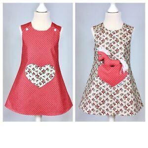 Handmade Réversible Fille Robe Roses/rouge à Pois Taille: Nouveau Né - 9 Ans-afficher Le Titre D'origine