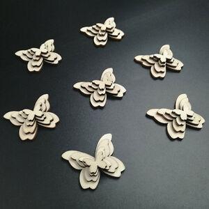 50pcs Wooden Butterflies Shape Craft Embellishments Scrapbook Wood Arts Decor