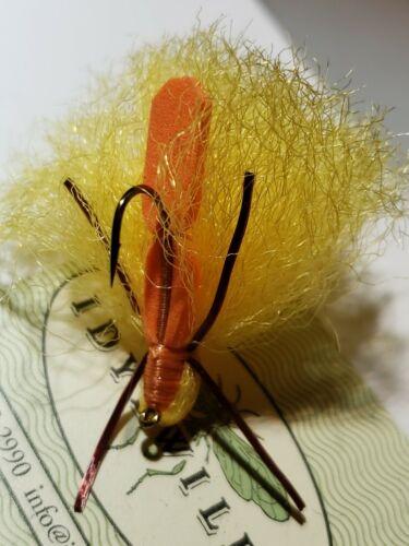 FISHING FLIES INDICATOR FLY # 8 CUSTOM TIED IDYLWILDE ORANGE YELLOW