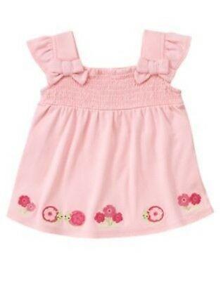 GYMBOREE FAIRY GARDEN PINK BOW SNAIL SMOCKED ALINE TOP 12 18 24 2T 3T 4T 5T NWT