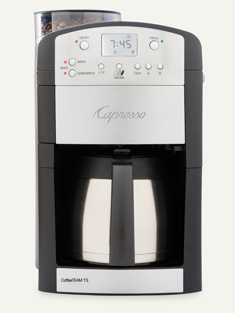 Capresso 465 Coffeeteam TS 10Cup Coffeemaker Conical Burr Grinder Thermal Carafe