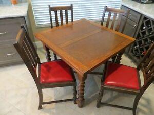 Antique English Oak Drawleaf Pub Table With Four Chairs Ebay