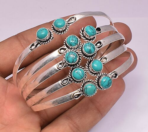 Turquoise Bracelet Cuff Bangle Sterling 925 Plaqué Argent 10pcs Bracelet Bijoux