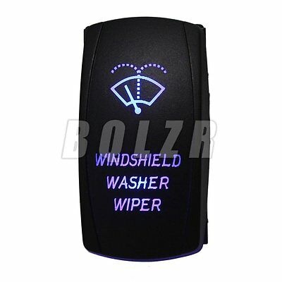 Blue LED Windshield Washer Wiper Type ON-OFF-ON Rocker Switch for Motorcycle