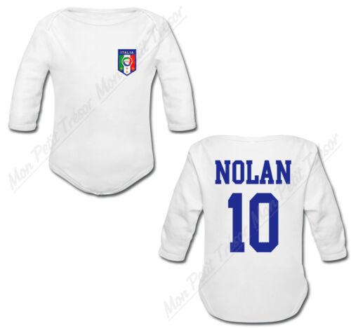 Body Bébé Football Maillot Italie personnalisé avec prénom et numéro au dos