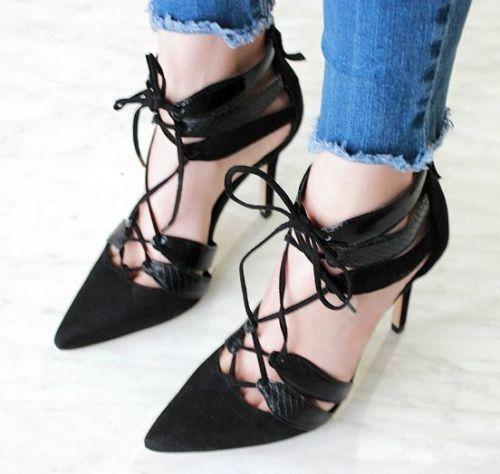 Zara Combinado Cuero Zapatos de tacón alto con correas de tamaño 5_6_7 38_39_40