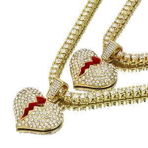 "14k Gold Plated Hip Hop Red BROKEN HEART Pendant 5mm 20/"" Tennis Necklace Chain"