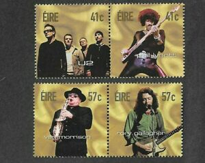 Ireland-Rock-Legends-2002-Music-mnh-set-Phil-Lynott-U2-Gallagher-Morrison