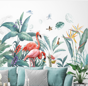 Wall-stickers-Tropical-Plant-Leaves-Flamingo-Decal-Art-Nursery-Removable-Decor