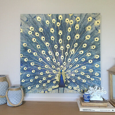 80cm Blue Peacock Square Canvas/Gold Highlights/Ready To Hang/Wall Art/Panel