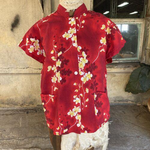 Vintage 1940s Cotton Hawaiian Print Blouse Top Kil