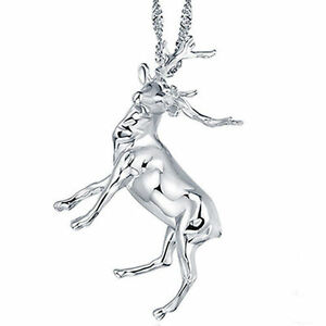 Womens solid 925 sterling silver pendant necklace charm deer image is loading women 039 s solid 925 sterling silver pendant aloadofball Image collections