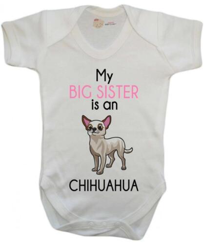 Ma grande soeur est Chihuahua baby gilet//Baby Grow//bébé combi