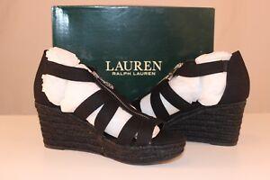 LAUREN-by-Ralph-Lauren-Womens-Kelcie-Fabric-Open-Toe-Black-Linen-Size-7-5-TFI
