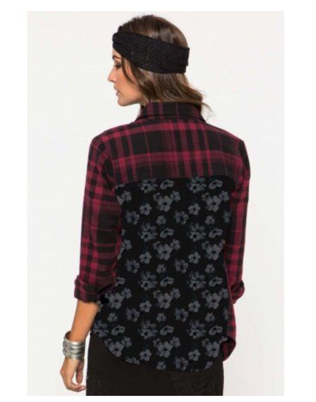 Metal Mulisha Pretty Face Flannel Flannel Flannel Ladies Size S 0b1c57