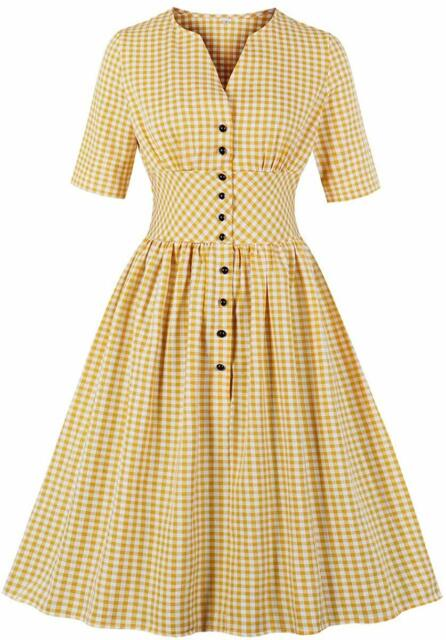 Wellwits Womens Ruffle Plunge V Neck Button up 1940s Collared Vintage Dress