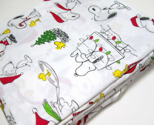 Pottery-Barn-Kids-Peanuts-Snoopy-Wood-Stock-Organic-Cotton-Full-Sheet-Set-New