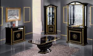 Details zu Wohnzimmer Komplett Schwarz-Gold Hochglanz Mäander Dekor  Klassisch Italienisch