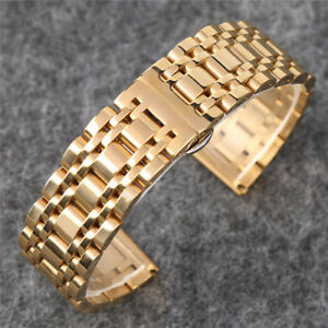20/22mm Black/Luxury Gold Solid 7 Beads Men Stainless Steel Watch Band HQ