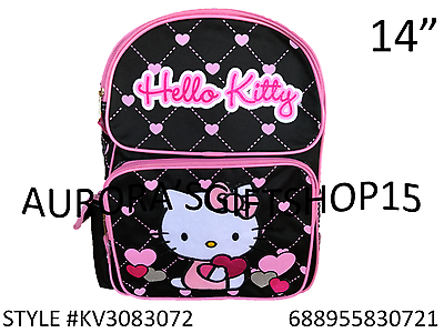 """Sanrio Hello Kitty Fullbody With Bear 14/"""" Canvas Pink Grils School Backpack"""