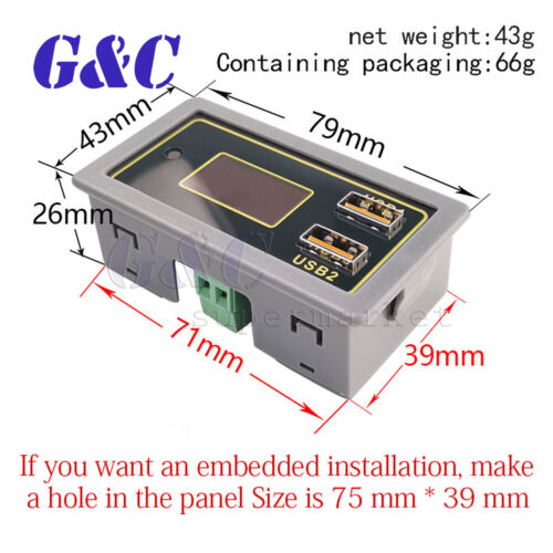 Car Battery Voltage and Power Display 12V//24V Support Lithium Battery USB Charge