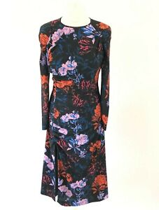 BNWT-Whistles-Black-Bloom-Floral-Print-Ruched-Split-Midi-Dress-Size-UK-10