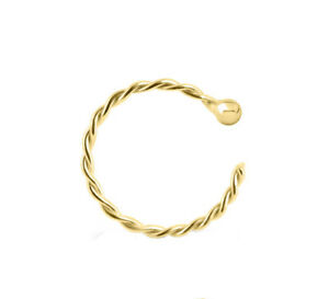 Sterling-Silver-925-Twisted-Hoop-Gold-Plated-Helix-Tragus-Rook-Nose-Ring-20G-8MM
