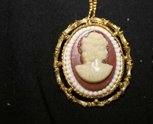 Vintage-1969-Resin-Cameo-Brooch-with-clip-on-back-to-wear-as-a-Necklace