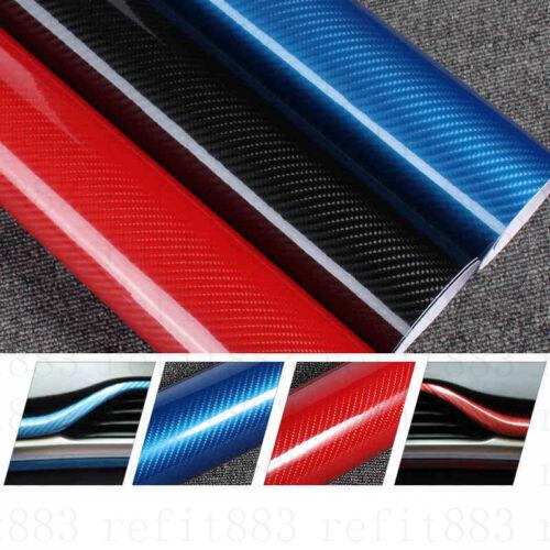 "18/""x60/"" 5D blue Ultra Shiny Gloss Glossy Carbon Fiber Vinyl Wrap Sticker Decal"