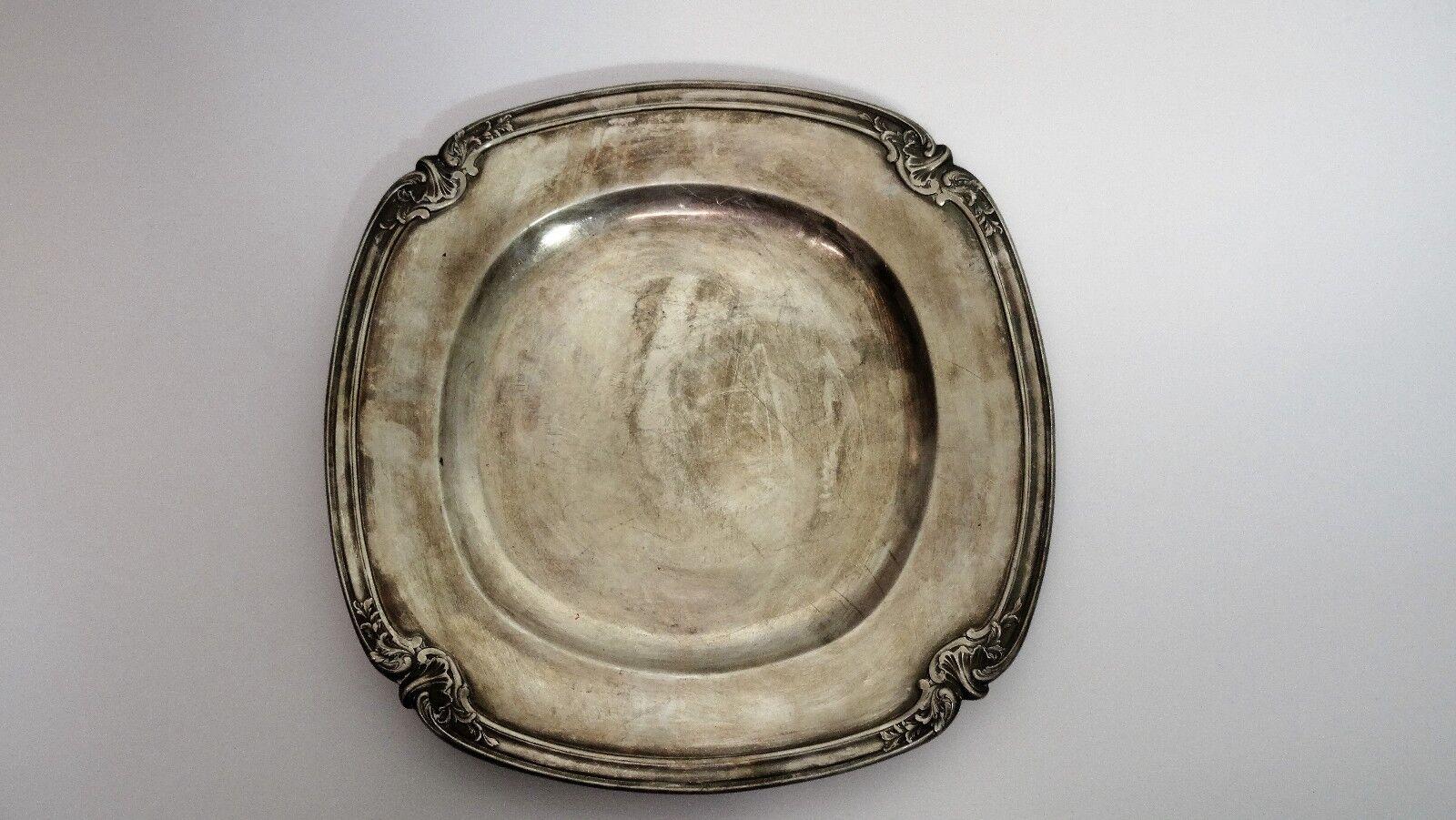 Gallia  - Plat rond en métal argenté
