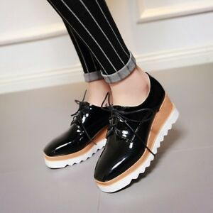 1e34066a6d87a New Punk Womens Wedge Mid Heels 6CM Platform Lace up Brogue Oxford ...